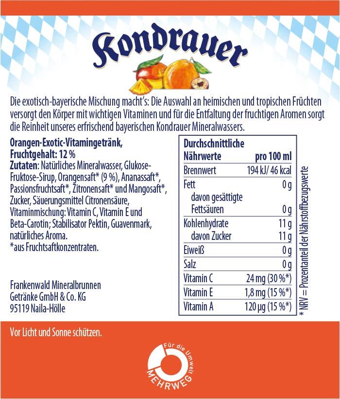 ACE Tropic Limonade Kondrauer Etikett   Kondrauer Mineral- und Heilbrunnen