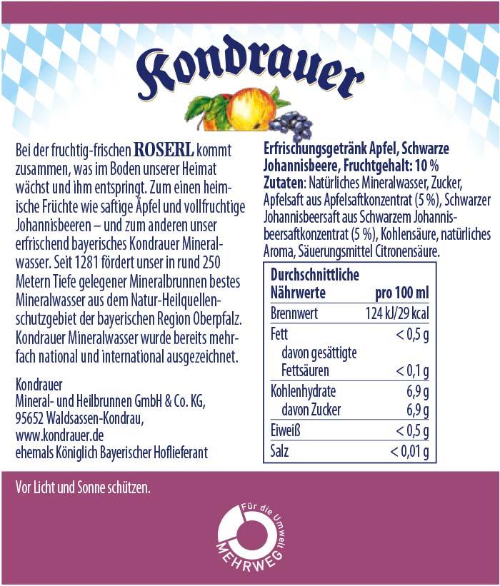Roserl Limonade Kondrauer Etikett   Kondrauer Mineral- und Heilbrunnen
