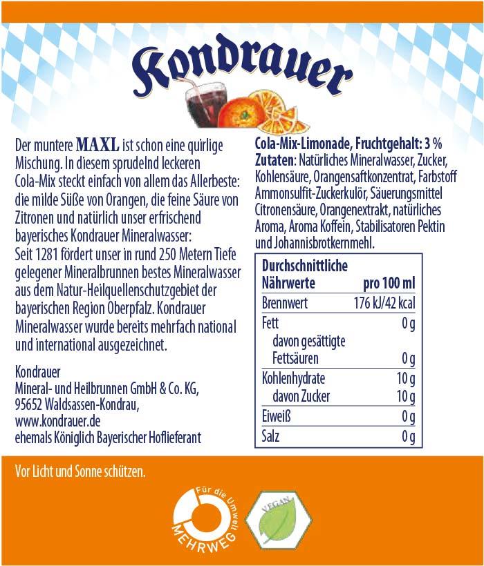 Maxl Limonade Kondrauer Etikett   Kondrauer Mineral- und Heilbrunnen