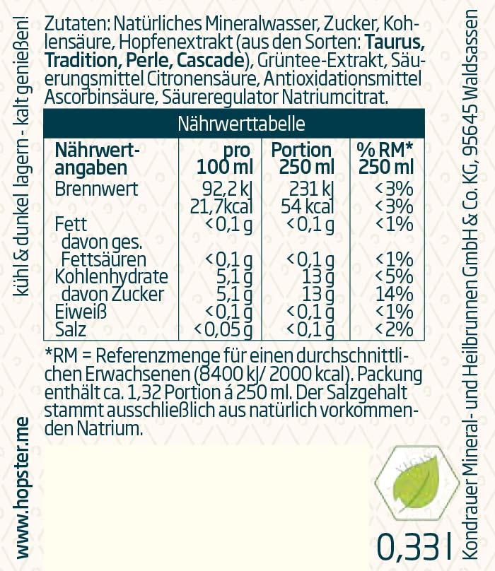 Hopster Limonade Kondrauer Etikett | Kondrauer Mineral- und Heilbrunnen