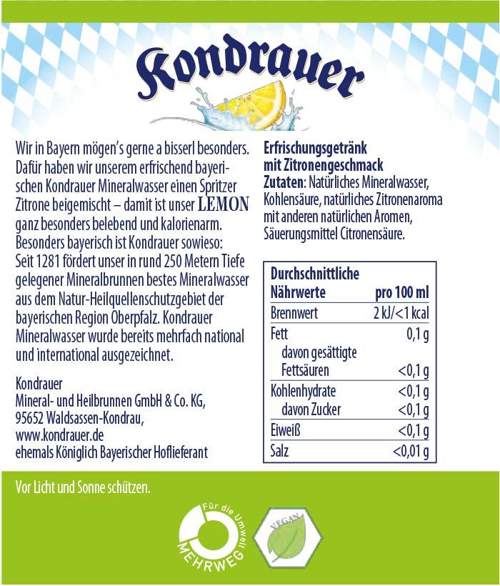 Lemon Limonade Kondrauer Etikett | Kondrauer Mineral- und Heilbrunnen