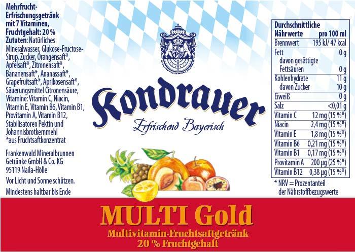 Multi-Gold Limonade Kondrauer Etikett   Kondrauer Mineral- und Heilbrunnen