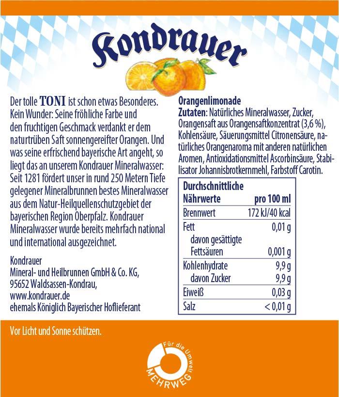 Toni Limonade Kondrauer Etikett   Kondrauer Mineral- und Heilbrunnen
