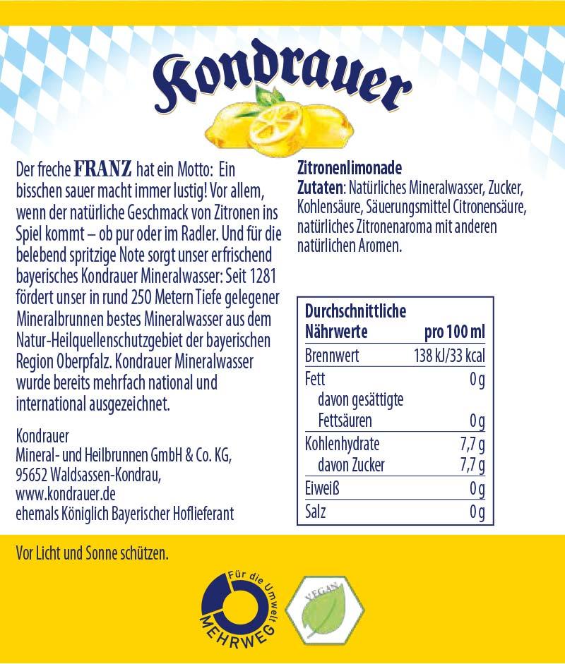 Franz Limonade Kondrauer Etikett   Kondrauer Mineral- und Heilbrunnen