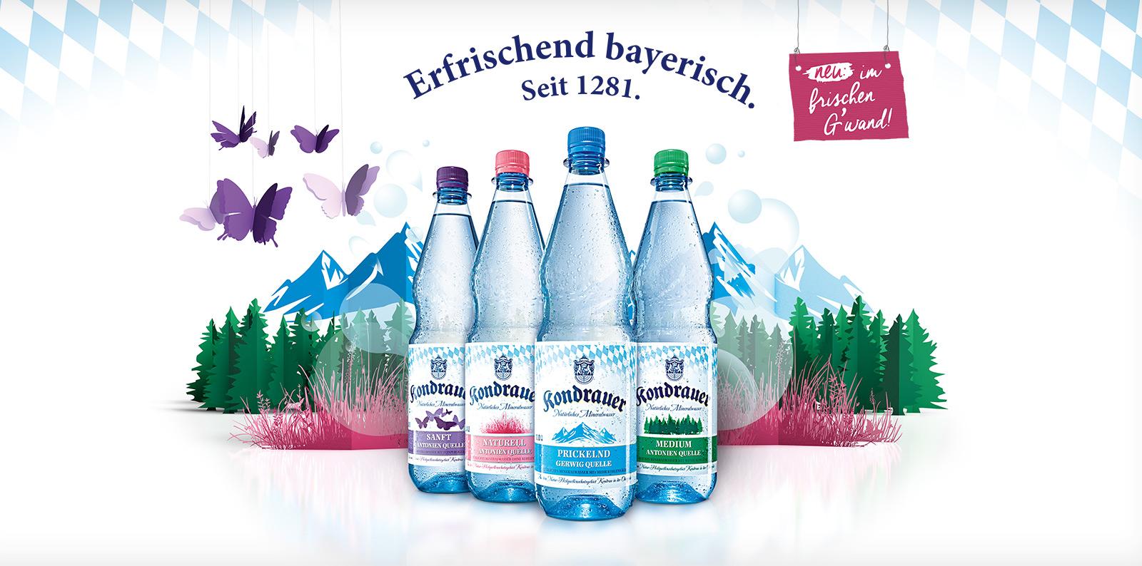 Neues Etikettendesign der vier Mineralwassersorten von Kondrauer
