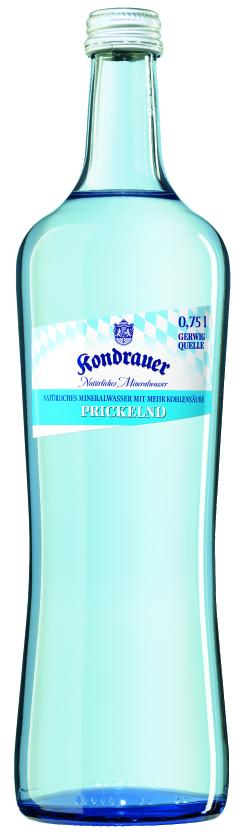 """Mineralwasser """"Prickelnd"""" 0,75 l Gourmet-Glasflasche"""