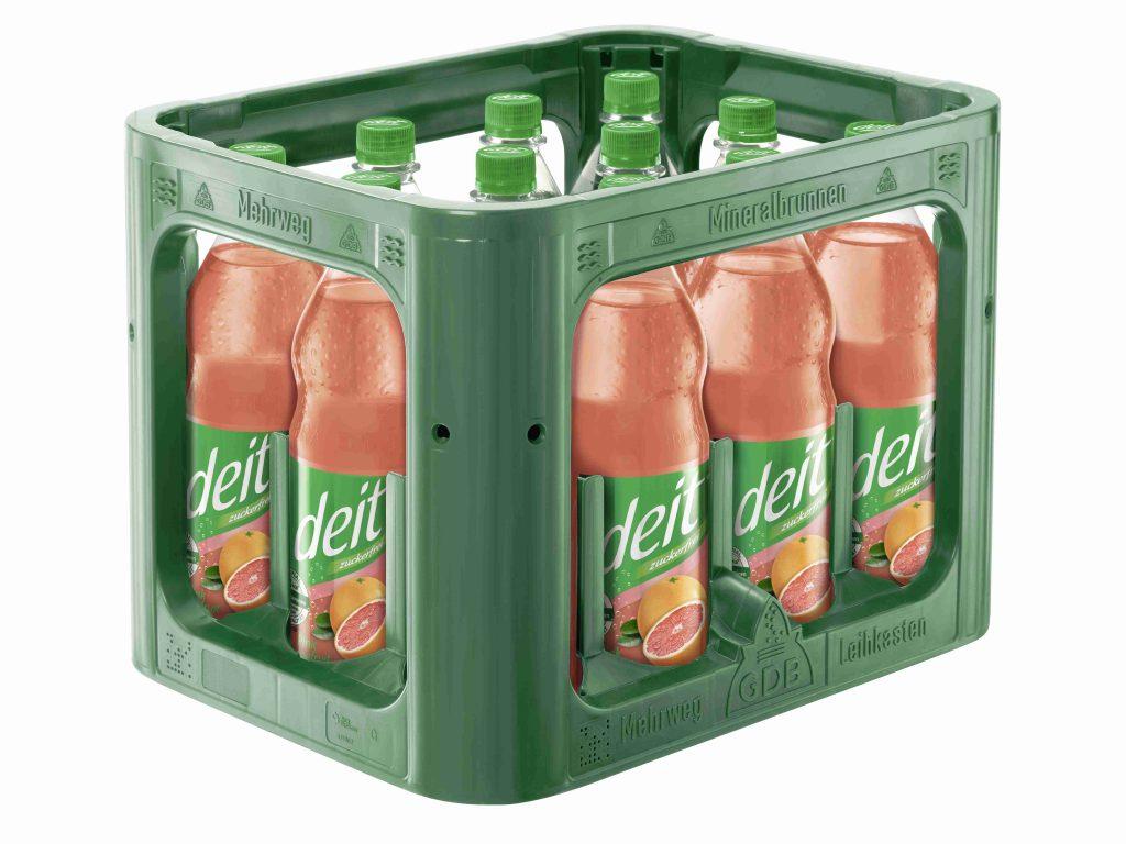 deit® PINK GRAPEFRUIT 1,0 l PET-Mehrwegflasche (Kasten)
