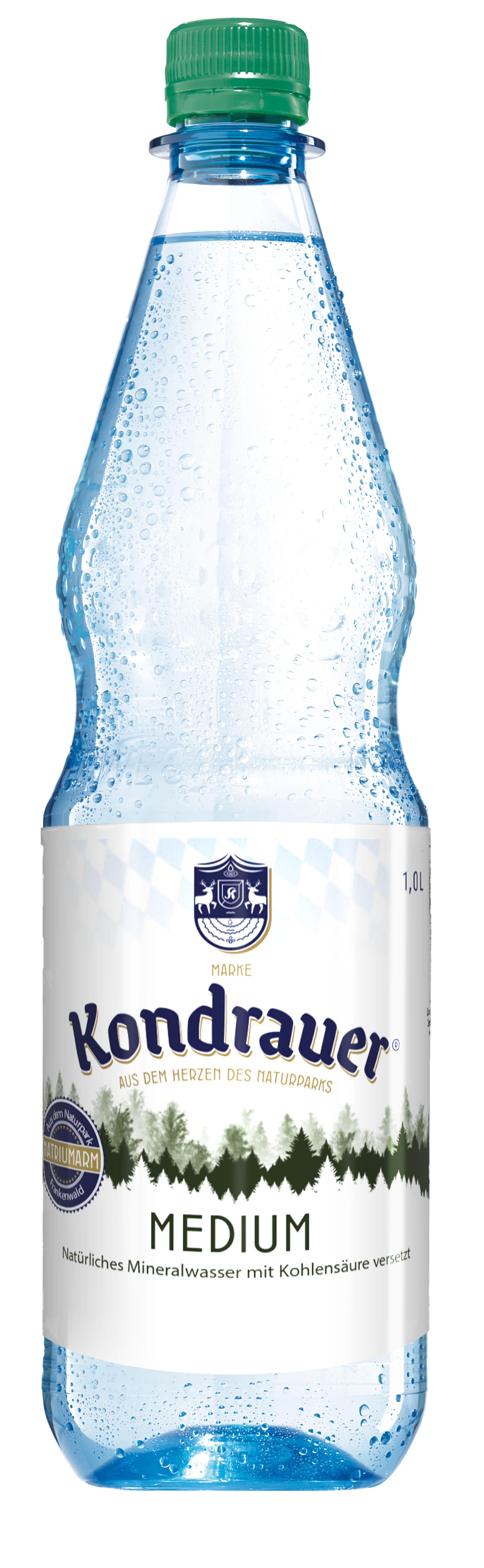 """Mineralwasser """"Medium"""" 1,0 l PET-Mehrwegflasche"""