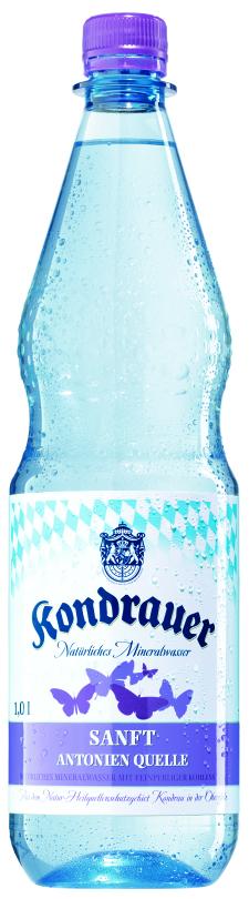 """Mineralwasser """"Sanft"""" 1,0 l PET-Mehrwegflasche"""