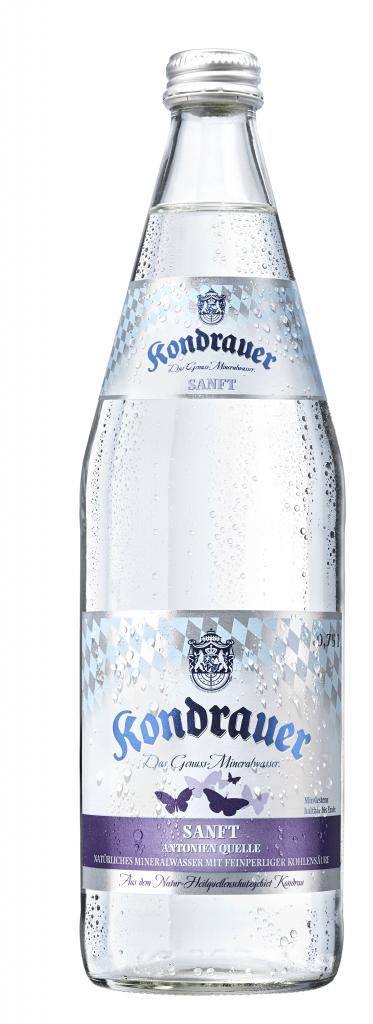 """Mineralwasser """"Sanft"""" 0,75 l Individualglas-Mehrwegflasche"""