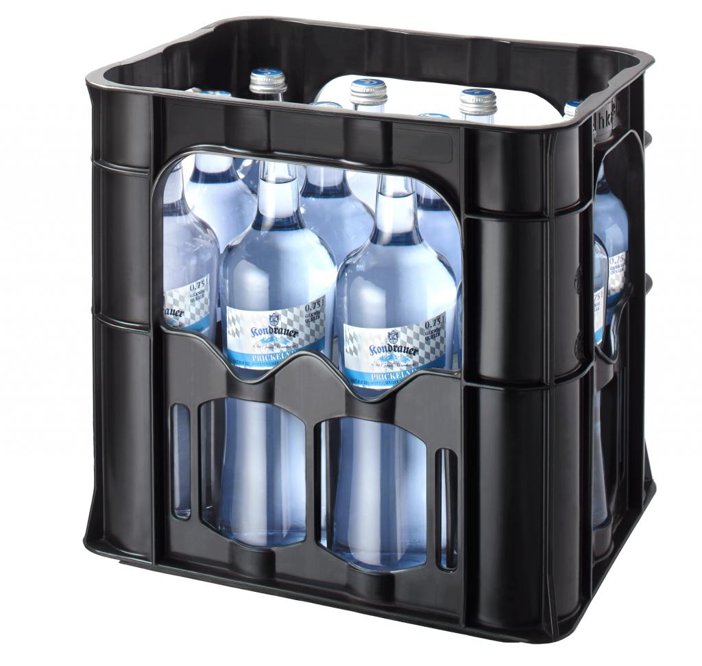 """Mineralwasser """"Prickelnd"""" 0,75 l Glas (Gastro-Kasten)"""